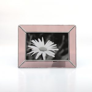 Pink frame with black and white daisy photo