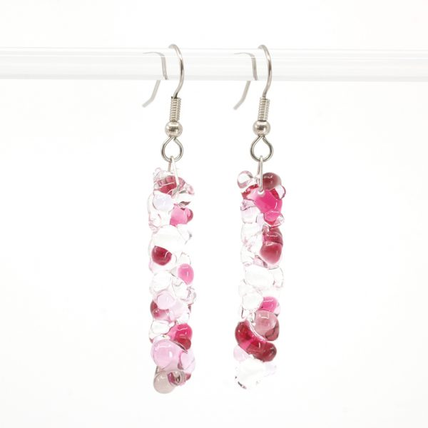 Light pink, dark pink, and clear bubbly textured earrings