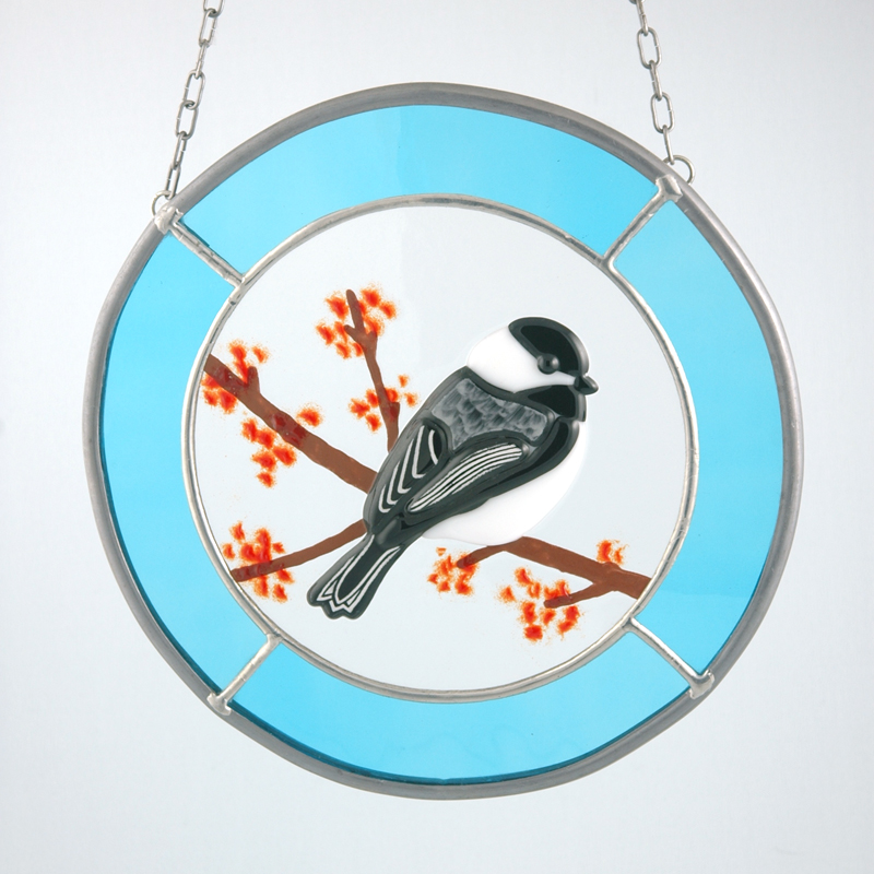 Chickadee with blue border