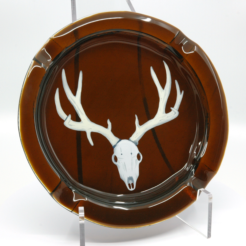 Deer Skull on brown custom ashtray