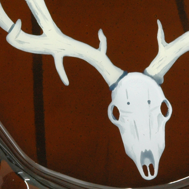 Closeup of handpainted deer skull on custom ashtray
