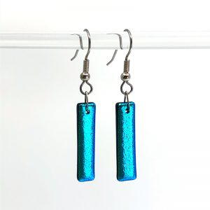 Aqua Blue Dichroic Fused Glass Earrings