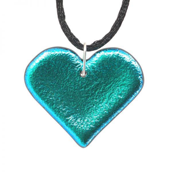 Aqua blue dichroic heart