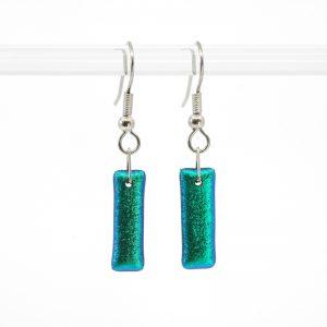 Shiny metallic green-blue earrings