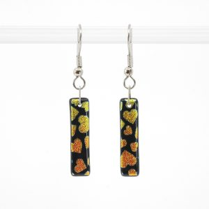 Red and orange hearts on black glass earrings