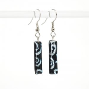 Silver spirals on black glass earrings