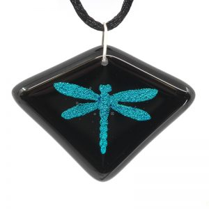 Aqua dragonfly on black diamond shaped pendant