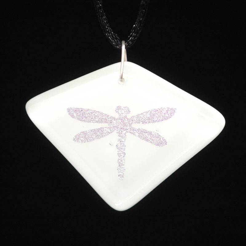 Gold dragonfly on white pendant