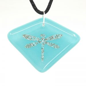 Silver dragonfly on light blue pendant