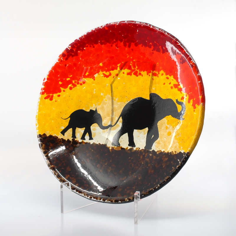 Sunset bowl with elephants silhouette