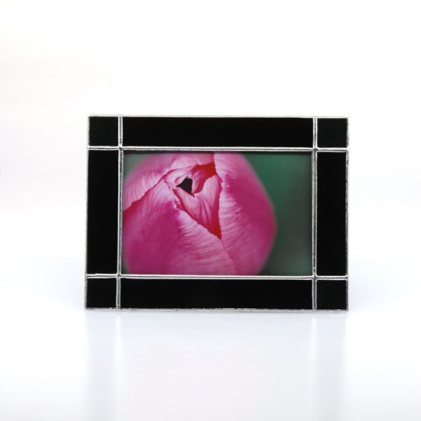 Black Frame with Square corners and a picture of a pink tulip