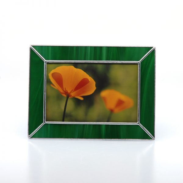 Green frame with picture of two orange California Poppies