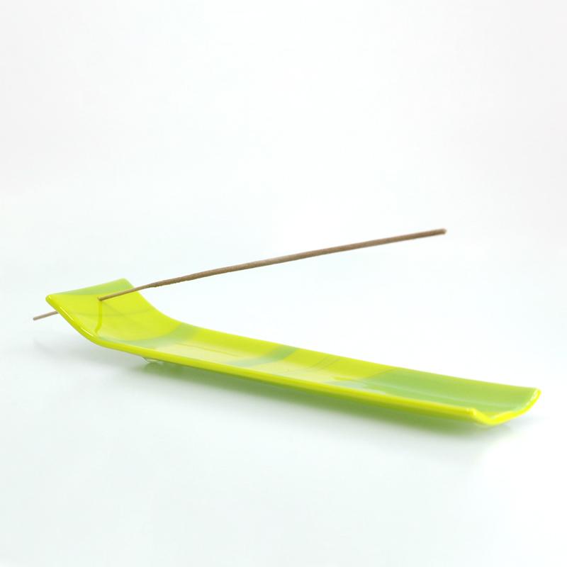 Green swirled incense holder