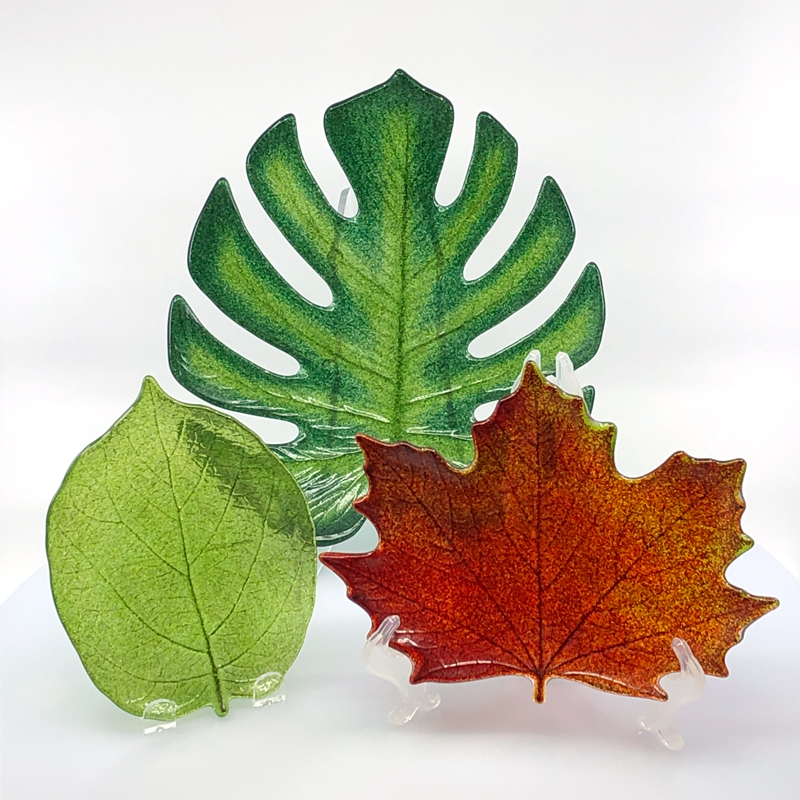 Monstera leaf, maple leaf, and kiwi leaf plates