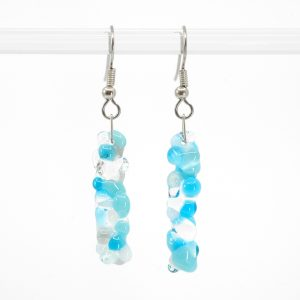 Blue, white, grey, and clear round bubble texture glass earrings