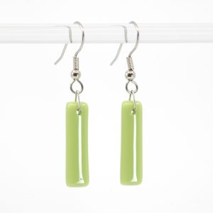 Opaque light green glass earrings
