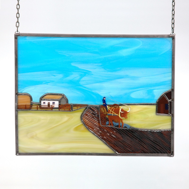 Prairie landscape with ox cart