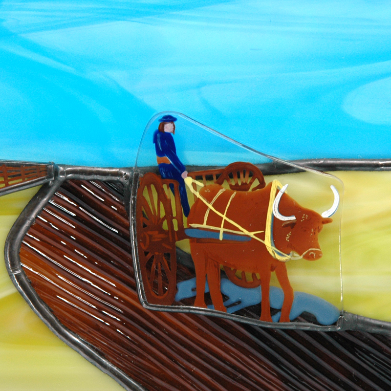 Closeup of ox cart
