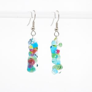 Blue, Green, and Pink bubble textured glass earrings