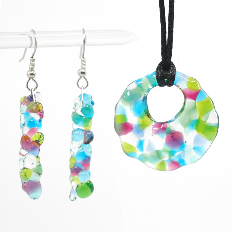 Spring coloured pendant and earrings