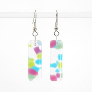 Blue, Green, and Pink smooth glass earrings