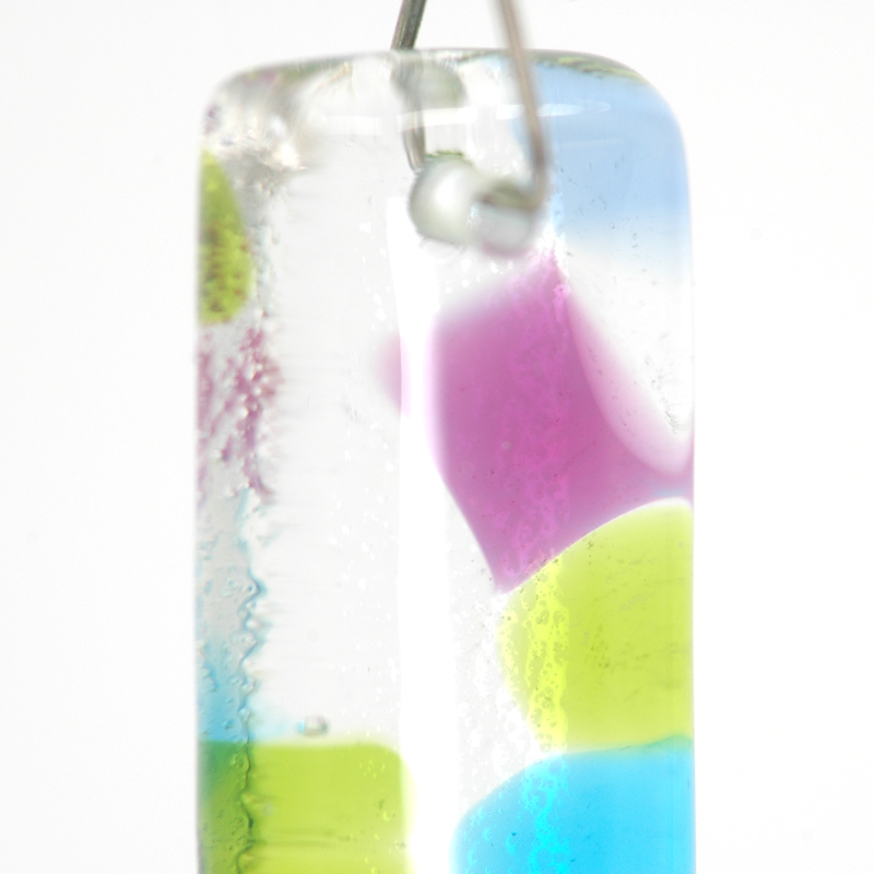 Closeup of Blue, Green, and Pink smooth glass earrings