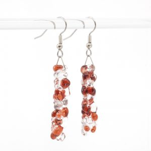 Cranberry and Clear bubble textured glass earrings