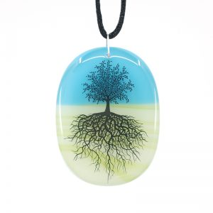 Tree of life on green and blue pendant