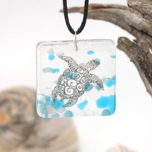 Sea turtle on blue white and clear pendant