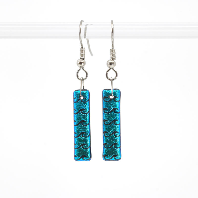 Bright sparkly aqua blue glass earrings with black waves