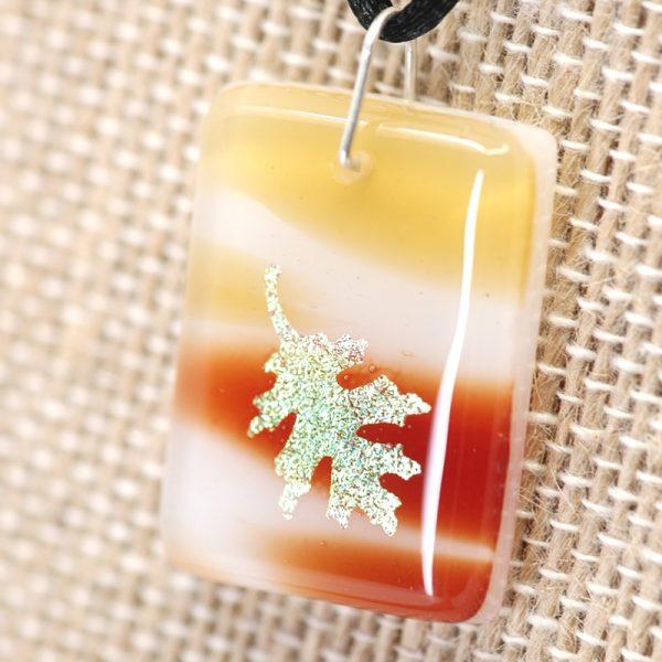 Gold Oak Leaf on brown and beige pendant