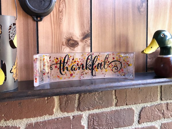 Handpainted Thankful on Clear glass with red and orange speckles