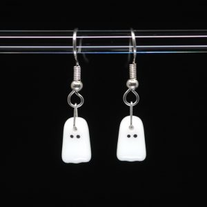 White fused glass ghost earrings with hand painted enamel face