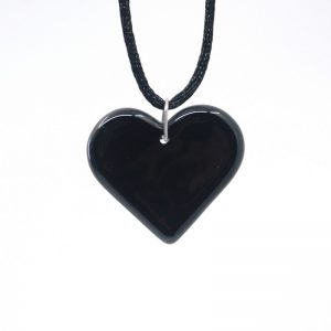 Black fused glass heart