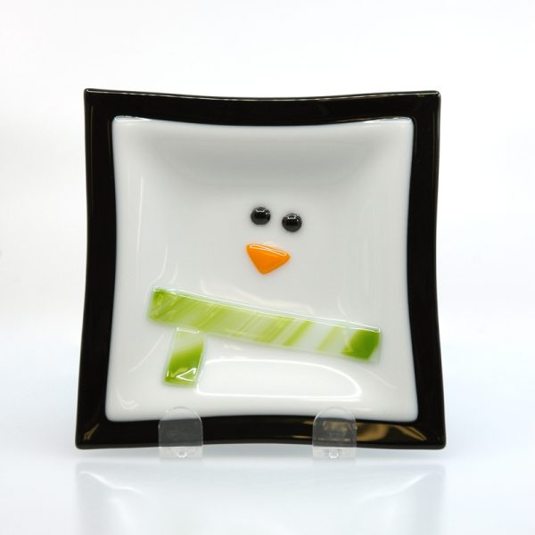 Abstract Penguin plate with green scarf