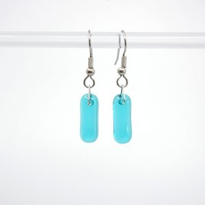 Light blue fused glass earrings