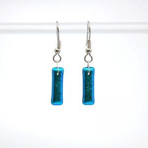Aqua blue dichroic fused glass earrings