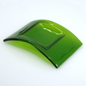 Green fused glass arch dish