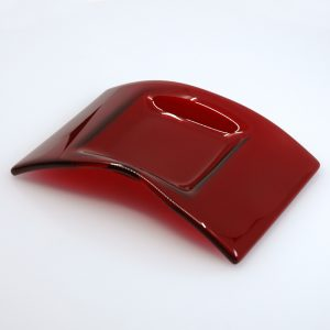 Red fused glass arch dish