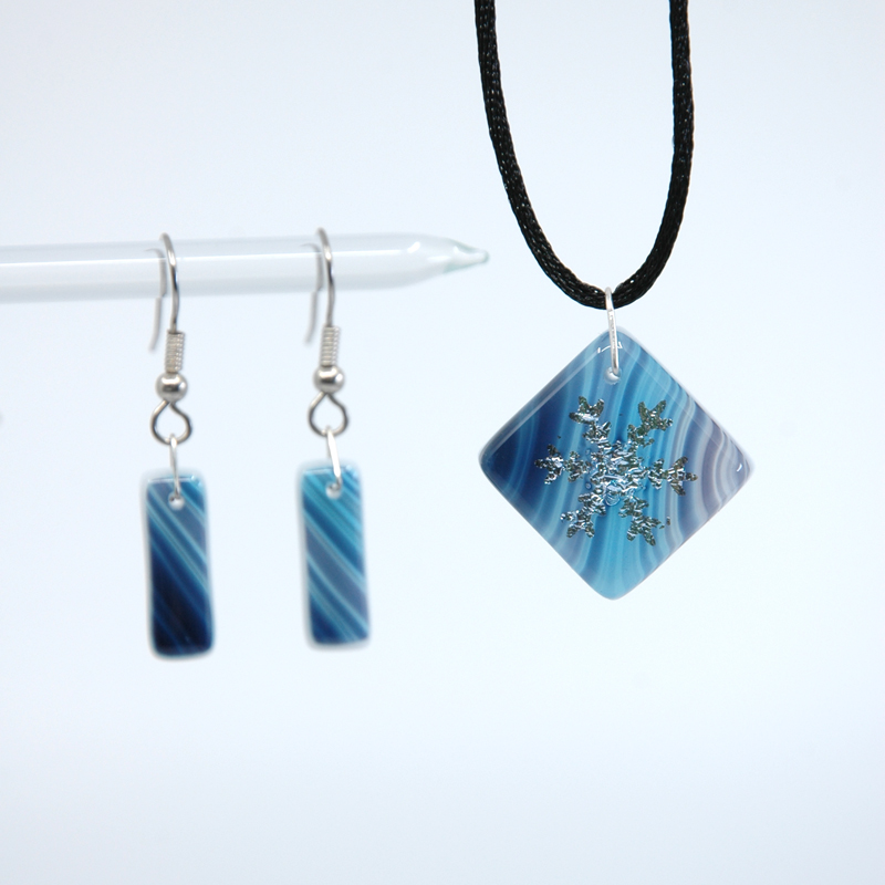 Dichroic Glass Blues Fused Glass pendant and matching earrings