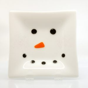 Snowman face fused glass plate