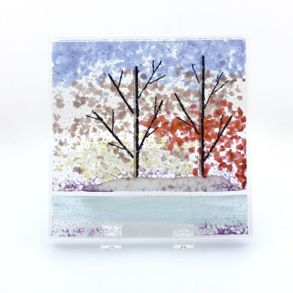 Fused Glass Winter Scene