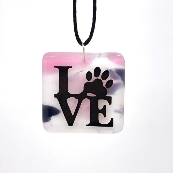 Pink White and Purple Fused Glass Pendant with LOVE with pawprint