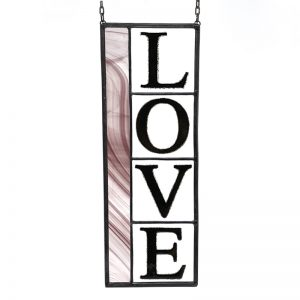 Pink Stained Glass Panel Love