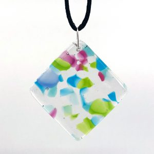 Fused Glass Square Diamond Pendant