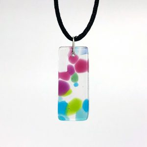 Fused Glass Tall Rectangle Pendant Necklace