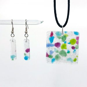 Fused Glass Square Pendant and Earrings Jewelry Set