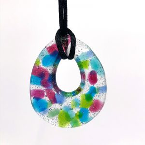 Fused Glass Teardrop Pendant