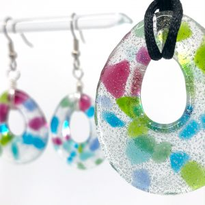 Fused Glass Teardrop Pendant and Earrings Jewelry Set