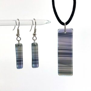 Black Iridescent Swirl Fused Glass Jewelry Set
